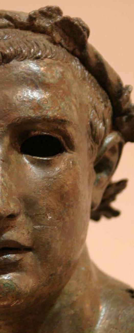 Bekränzter Kopf der Bronzestatue eines siegreichen Läufers (Detail), Izmir, Archäologisches Museum Inv. 9363 (1. Jh. v. Chr.)