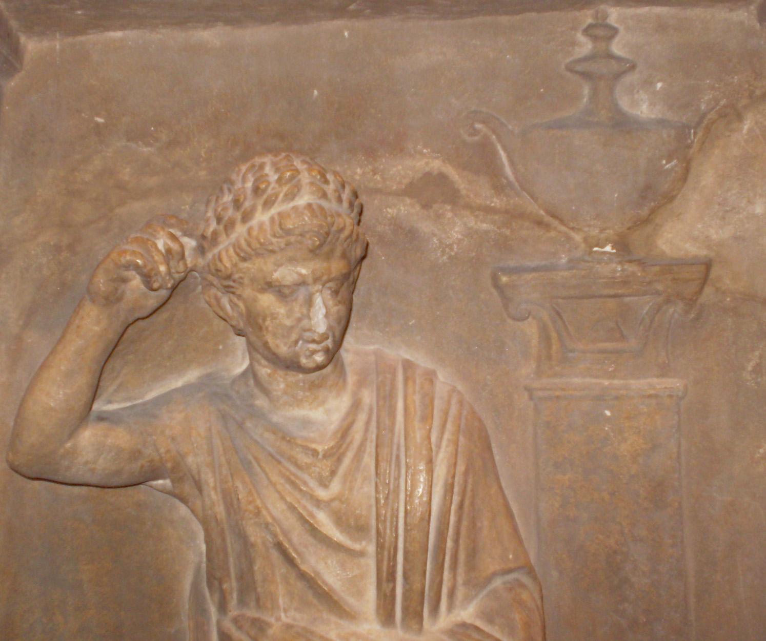 Bekränzter Bürger auf einem Grabrelief aus Ionien (Ausschnitt), Oxford, Ashmolean Mus. Inv, 1947.271 (2. Jh. v. Chr.)